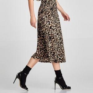 ZARA Leopard Midi Skirt